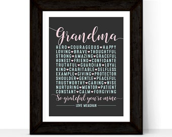 Christmas Gift for Grandmother | Wall Art Print or Canvas | Birthday Gift for Grandma Personalized | custom colors