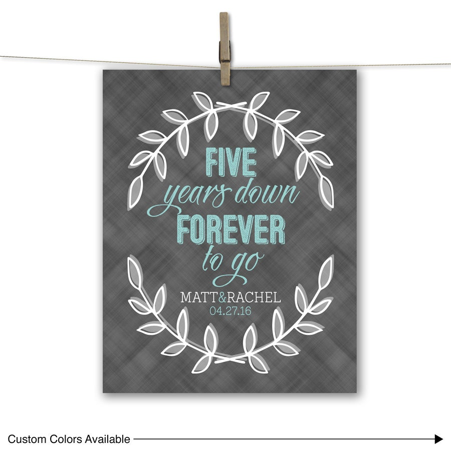 Five Years Down Forever To Go Personalized 5th Anniversary
