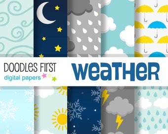 Weather Digital Paper Pack Includes 10 for Scrapbooking Paper Crafts
