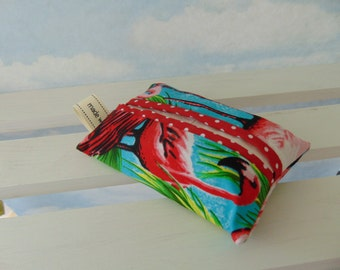 Pocket Tissue Holder Flamingos Red Polka