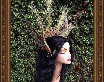 Brown/Teal Opaque/Iridescent Fairy Half-Crown**FREE SHIPPING**Costume/Photography/Masquerade/Cosplay/Weddings/Halloween