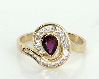 Ruby Diamond Ring Vintage 14k Yellow Gold Estate Fine Jewelry Heirloom