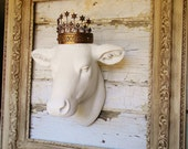 Faux Cow Head,Faux Taxidermy,White Cow Head,Cow Head Wall Mount,French Country Cow Head,Cow Head with Crown,Framed Cow Head,Kitchen Decor