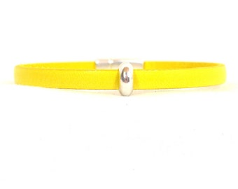 Bladder Cancer Awareness Bracelet - Yellow 5mm Flat European Leather with Antique Silver Circle Slider and Magnetic Clasp (452)