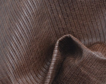 "Fashion Marbled Brown Medium Stripes Leather Cow Hide 8"" x 10"" Pre-cut 1 1/2 ounces TA-38991 (Sec. 4,Shelf 5,C)"