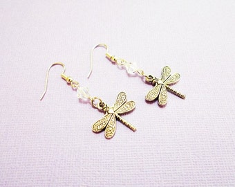 DRAGONFLY EARRINGS with Swarovski crystals - surgical stainless steel sensitive ears hypoallergenic non allergenic ear wires