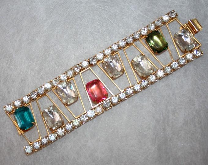 Precious Wide Bracelet Signed Marcy Feld Vintage