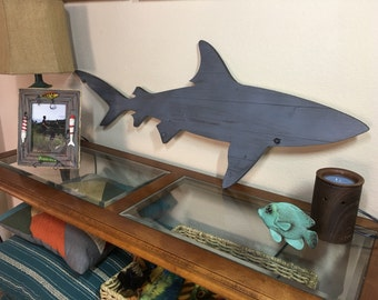 Distressed Pallet Wood Shark Silhouette Cut-Out Surf Decor Fishing