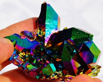 "7205xx Rainbow FLAME AURA Quartz Titanium Crystal Healing Cluster 66mm xxlarge FREE Usa Shipping!!  2.6"""
