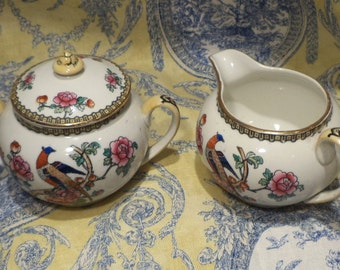 English Whieldon Ware, Pheasant, Antique Fine Bone China, Hand Painted