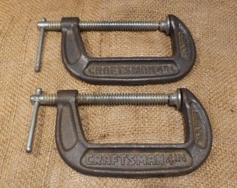 Craftsman Clamps, 4 inch C Clamps, Vintage Tools, Woodworking Clamp Salvage