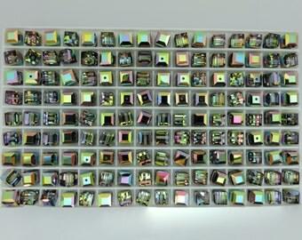 SWAROVSKI® Crystal Cubes, Article #5601 6mm, Twenty(20) VITRAIL MEDIUM 6mm Square Beads, Forty-Five(45) Cents Per Bead!