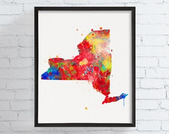 New York State Map, New York State Art, New York Print, New York Watercolor Poster, New York Painting, Travel Art, Modern Wall Art, Framed