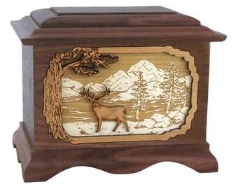 Walnut Whitetail Deer Ambassador Wood Cremation Urn