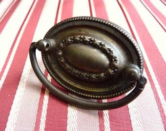 Ornate Vintage Old Oval Drawer Cabinet Pull, Edwardian, Antique Brass Hardware