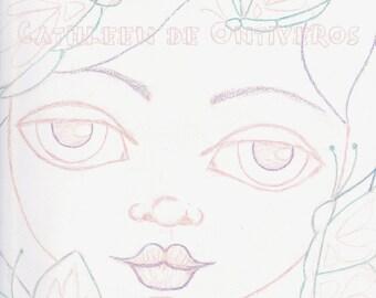 Butterfly Girl Digital Stamp Face Template Cathleen de Ontiveros