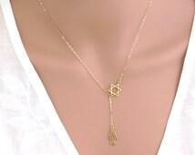 Gold hamsa necklace,Gold magen david necklace,star of david necklace , Gold lariat necklace,hamsa magen david necklace