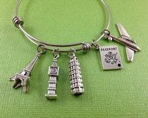 Travel Charm Bracelet, World Traveler, Love to Travel, Eiffel Tower Charm, Big Ben Charm, Tower of Pisa Charm, Passport Charm, Airplane