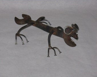 Cool up-cycled salamander gecko figurine rusty tools wrench nails lizard