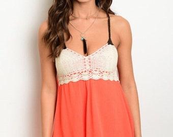 Peach crochet top dress!