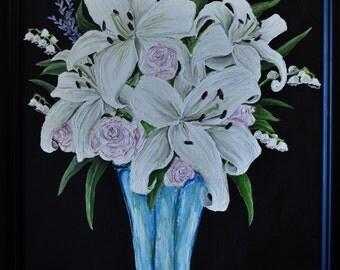 Lily Bouquet Original Oil Painting