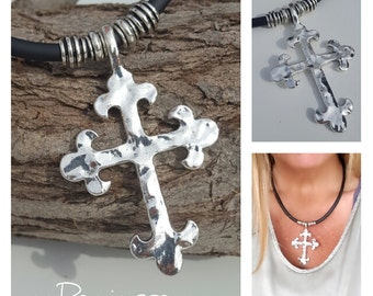 big Cross, Rubber, Kautschuk necklace