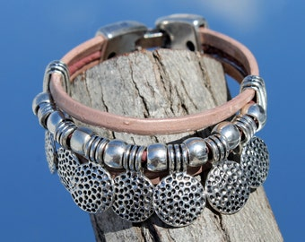 multistrand Leather Bracelet with coins