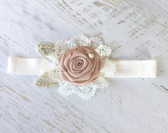 Baby Headband Couture Blush Rosette Satin Flower With Pearls Sparking Rhinestone Bow Headband Lace Headband Baby Girl Toddler