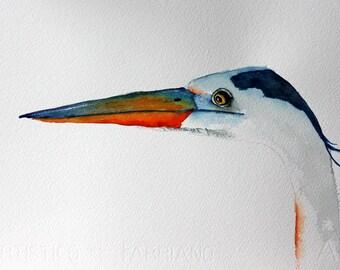 original bird painting bird art  blue heron watercolor painting by Betty Moore