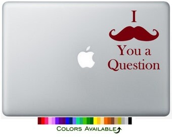 I Mustache You a Question Laptop Decal
