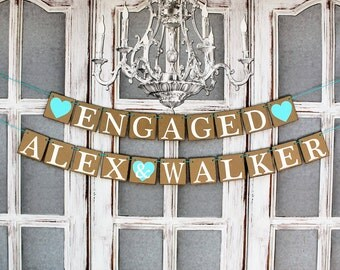 ENGAGEMENT PARTY BANNERS - Custom Personalized Name Signs - Aqua Wedding Decorations