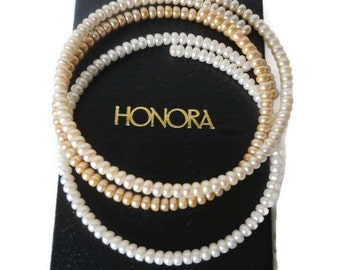 Vintage Honora Pearl Wire Choker Necklaces Set of Three Fresh Water Button Pearls