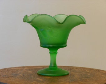 Small Frosted Green Glass Compote