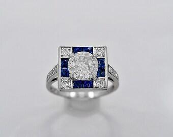 Antique Engagement Ring - Fashion Ring 1.65ct. Diamond & Sapphire EGL - j34894