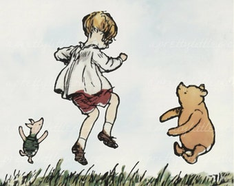 Classic Winnie the Pooh Printed on Watercolor Paper Christopher Robin Pooh Piglet Jumping  Fine Art Print Childs Baby Nursery Decor #1019