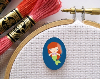 Magnetic Princess Ariel Needle Minder for Cross Stitch, Embroidery, & Needlecrafts (18mmx25mm with Strong Magnet)