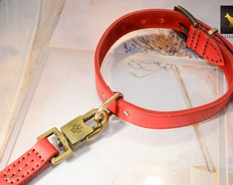 "Red Leather Dog Collar Leash Set Made With Soft Real Genuine Leather -  Neck 16"" to 22"""