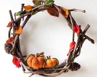 Autumn pumpkin vine wreath ~ felted ~ fall ~ halloween ~ natural