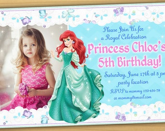 SALE Ariel Birthday Invitation, Princess Ariel birthday Invitation, Little Mermaid birthday invitation - Digital file