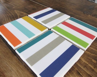 Set of 4 Striped Tile Coasters