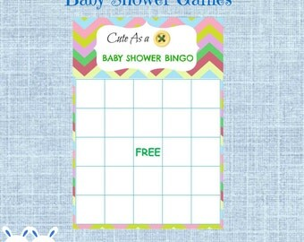 Cute as a Button Baby Shower Bingo Blank Cards - Button Bingo Gift Baby Shower- Printable Baby Shower Game- Instant Download- Gender Neutral