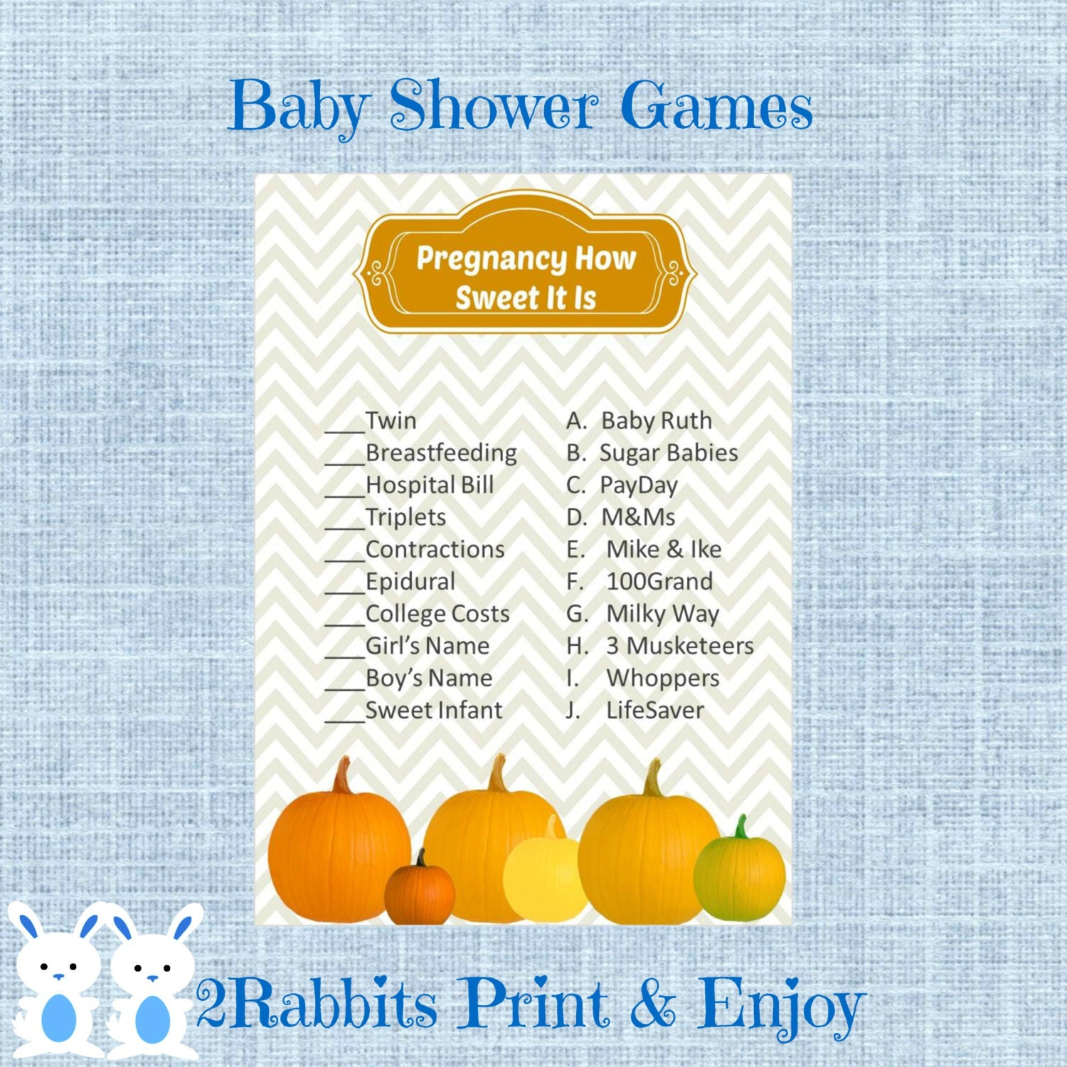 candy match baby shower game pumpkin baby shower candy bar