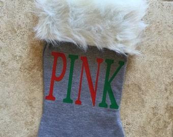 PINK grey sweatshirt christmas holiday stocking fur trim red green