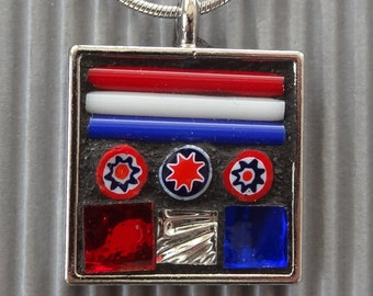 Jewelry Mosaic Mixed Media Millefiori Glass Mirror Pewter Wearable Art Red White Blue