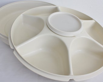 Tupperware Divided Relish Veggie Serving Tray Complete 4 Piece