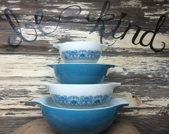 FULL SET - Vintage Pyrex Horizon Blue Cinderella Nesting Bowl Set