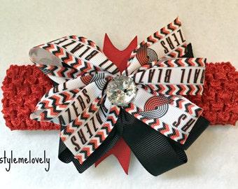 Portland Trailblazers Baby Girl Boutique Bow Crocheted Headband