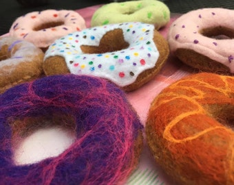Donuts, Needle Felted, Play Food, Felt, Toddler Toy, Montessori, Pretend Play, Orange, Pink, Blue, Brown, Green, with Sprinkles, 7 donuts