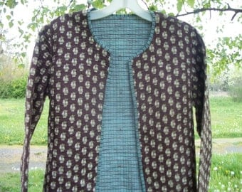 Darling Vintage ETHNIC BOHO FOREIGN Quilted Cotton Jacket, w a little print, small