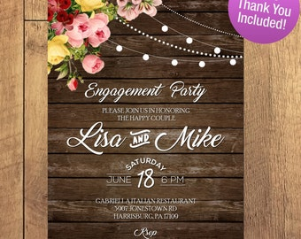 Rustic Engagement Party Invitation, Hanging Lights. Rustic Wedding, I DO BBQ, Rustic Engagement Party Invitation